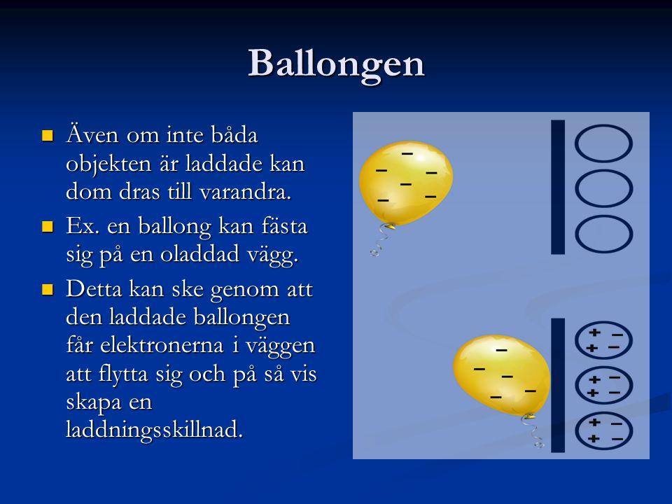 Ballongen  Även om inte båda objekten är laddade kan dom dras till varandra.  Ex. en ballong kan fästa sig på en oladdad vägg.  Detta kan ske genom
