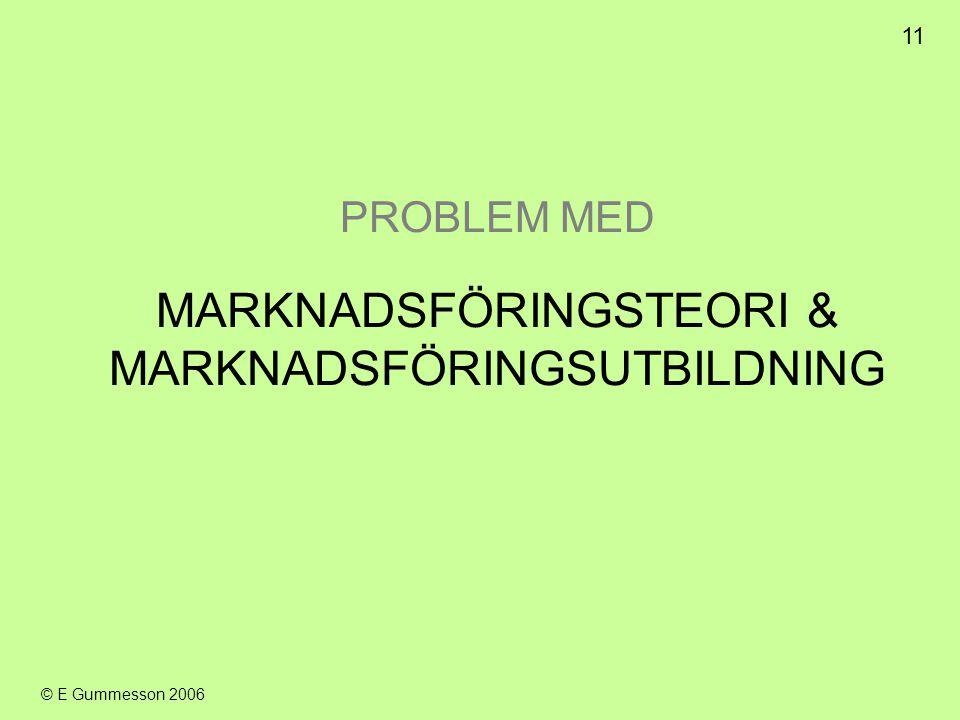 11 © E Gummesson 2006 PROBLEM MED MARKNADSFÖRINGSTEORI & MARKNADSFÖRINGSUTBILDNING