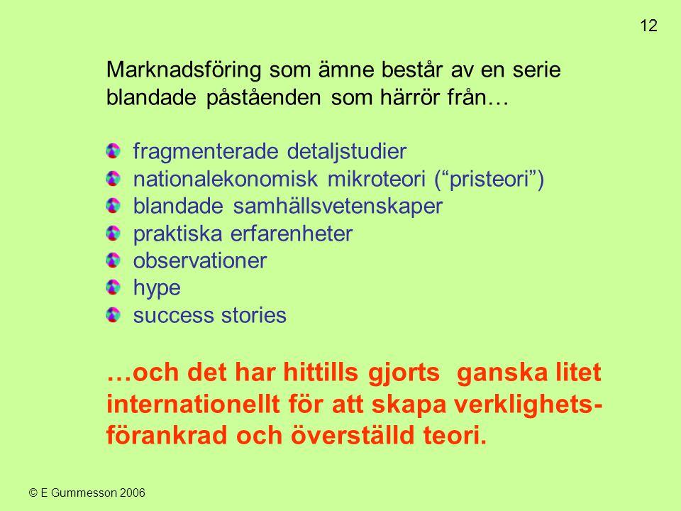 12 © E Gummesson 2006 Marknadsföring som ämne består av en serie blandade påståenden som härrör från… fragmenterade detaljstudier nationalekonomisk mi