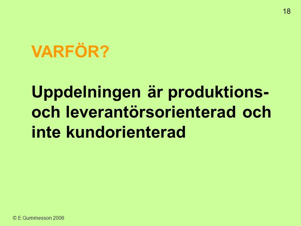 18 © E Gummesson 2006 VARFÖR? Uppdelningen är produktions- och leverantörsorienterad och inte kundorienterad