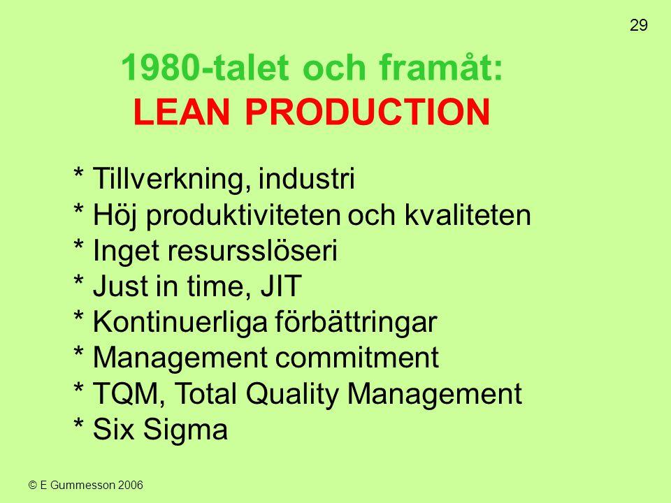 29 © E Gummesson 2006 1980-talet och framåt: LEAN PRODUCTION * Tillverkning, industri * Höj produktiviteten och kvaliteten * Inget resursslöseri * Jus