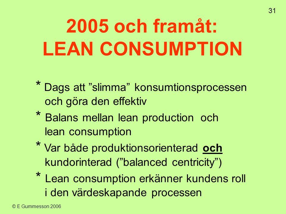 """31 © E Gummesson 2006 * Dags att """"slimma"""" konsumtionsprocessen och göra den effektiv * Balans mellan lean production och lean consumption * Var både p"""