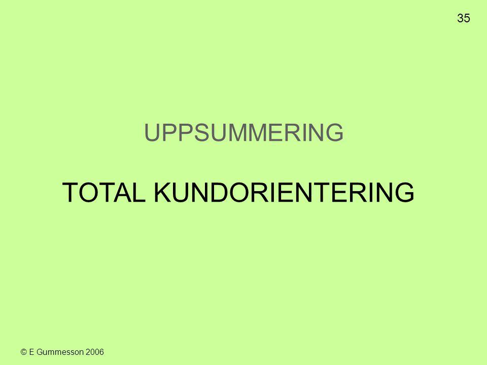 35 © E Gummesson 2006 UPPSUMMERING TOTAL KUNDORIENTERING
