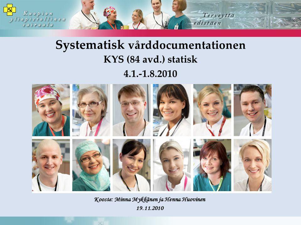 Systematisk vårddocumentationen KYS (84 avd.) statisk 4.1.-1.8.2010 Kooste: Minna Mykkänen ja Henna Huovinen 19.11.2010