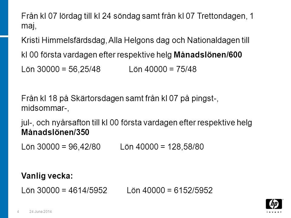 524 June 2014 Anm.Månadslönen i förekommande fall uppräknad till heltidslön.