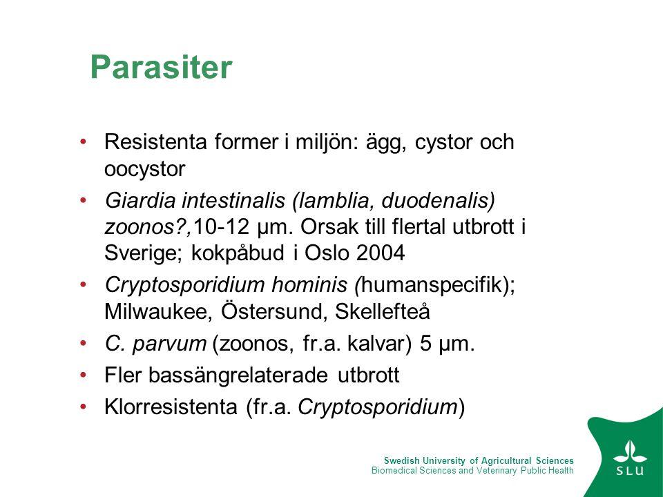 Swedish University of Agricultural Sciences Biomedical Sciences and Veterinary Public Health Parasiter •Resistenta former i miljön: ägg, cystor och oo