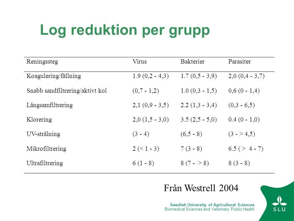 Swedish University of Agricultural Sciences Biomedical Sciences and Veterinary Public Health Log reduktion per grupp ReningsstegVirusBakterierParasite