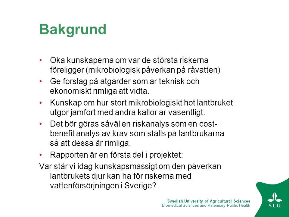 Swedish University of Agricultural Sciences Biomedical Sciences and Veterinary Public Health Bakgrund •Öka kunskaperna om var de största riskerna före