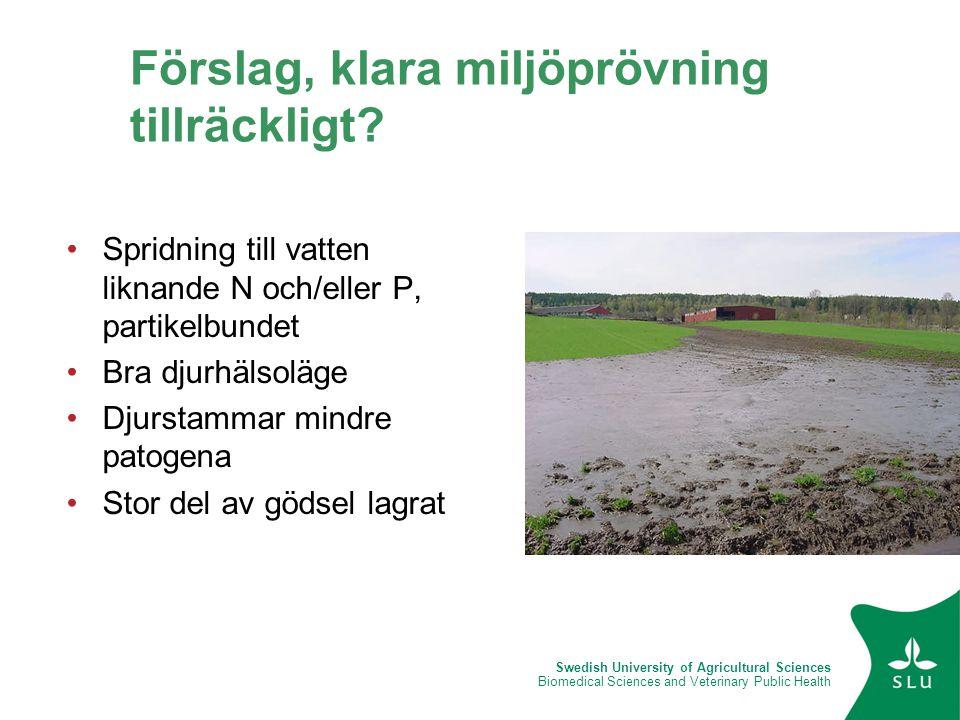 Swedish University of Agricultural Sciences Biomedical Sciences and Veterinary Public Health Förslag, klara miljöprövning tillräckligt? •Spridning til