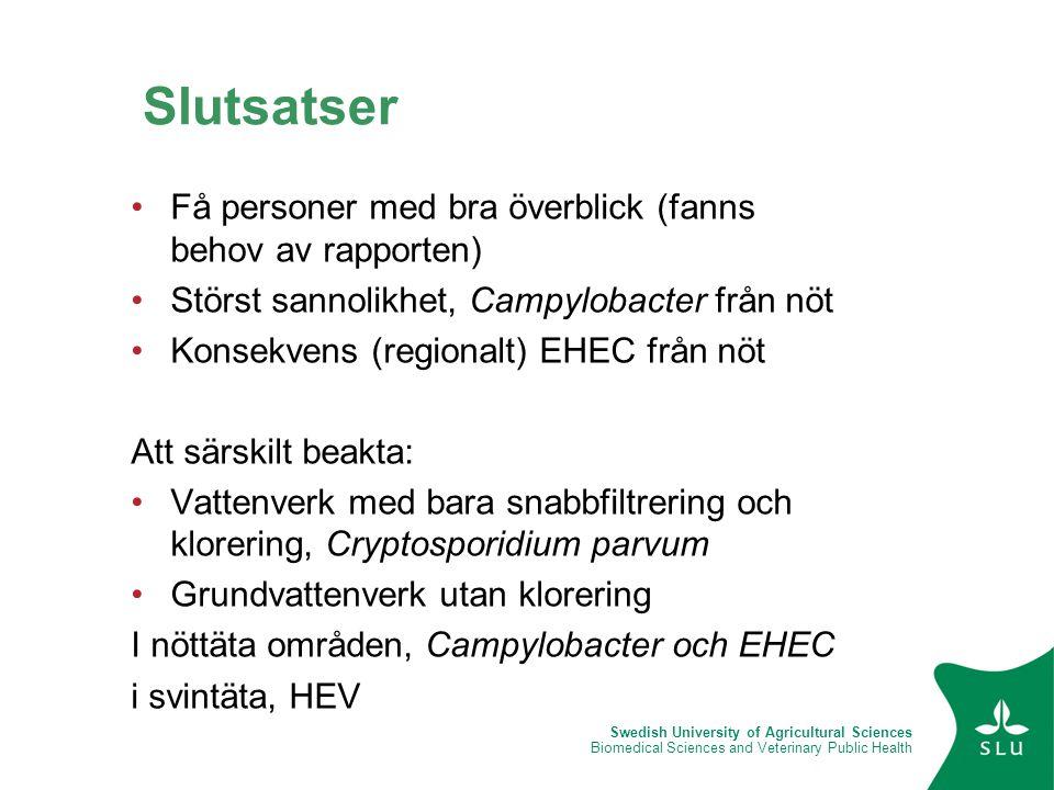Swedish University of Agricultural Sciences Biomedical Sciences and Veterinary Public Health •Få personer med bra överblick (fanns behov av rapporten)