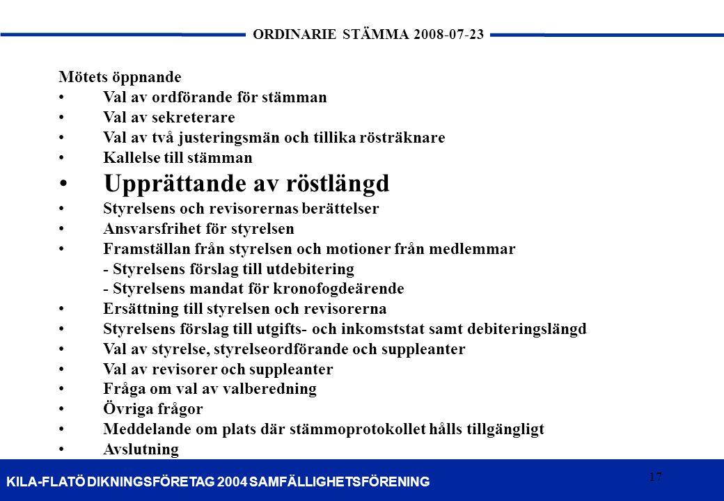 17 KILA-FLATÖ DIKNINGSFÖRETAG 2004 SAMFÄLLIGHETSFÖRENING ORDINARIE STÄMMA 2008-07-23 17 Mötets öppnande •Val av ordförande för stämman •Val av sekrete