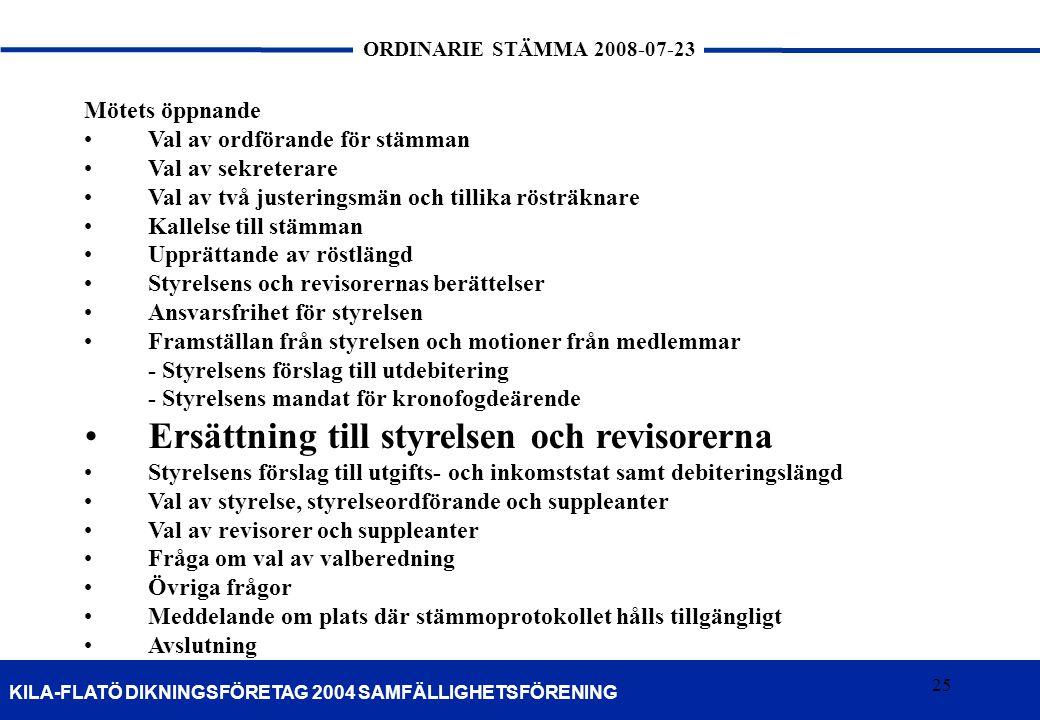 25 KILA-FLATÖ DIKNINGSFÖRETAG 2004 SAMFÄLLIGHETSFÖRENING ORDINARIE STÄMMA 2008-07-23 25 Mötets öppnande •Val av ordförande för stämman •Val av sekrete