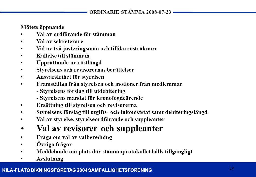 29 KILA-FLATÖ DIKNINGSFÖRETAG 2004 SAMFÄLLIGHETSFÖRENING ORDINARIE STÄMMA 2008-07-23 29 Mötets öppnande •Val av ordförande för stämman •Val av sekrete