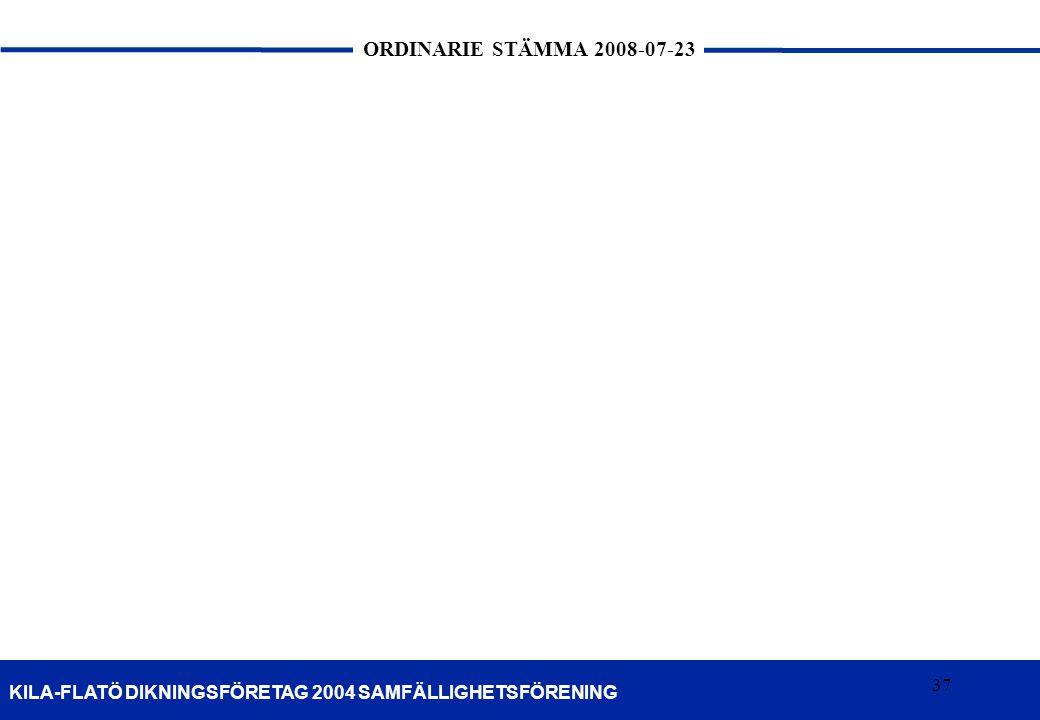 37 KILA-FLATÖ DIKNINGSFÖRETAG 2004 SAMFÄLLIGHETSFÖRENING ORDINARIE STÄMMA 2008-07-23 37