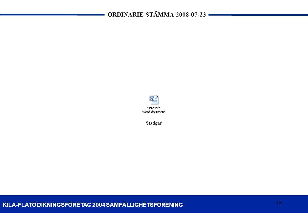 38 KILA-FLATÖ DIKNINGSFÖRETAG 2004 SAMFÄLLIGHETSFÖRENING ORDINARIE STÄMMA 2008-07-23 38 Stadgar