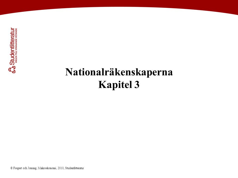 © Fregert och Jonung, Makroekonomi, 2010, Studentlitteratur Nationalräkenskaperna Kapitel 3