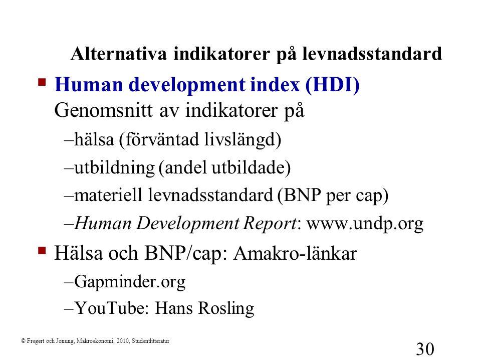 © Fregert och Jonung, Makroekonomi, 2010, Studentlitteratur 30 Alternativa indikatorer på levnadsstandard  Human development index (HDI) Genomsnitt a