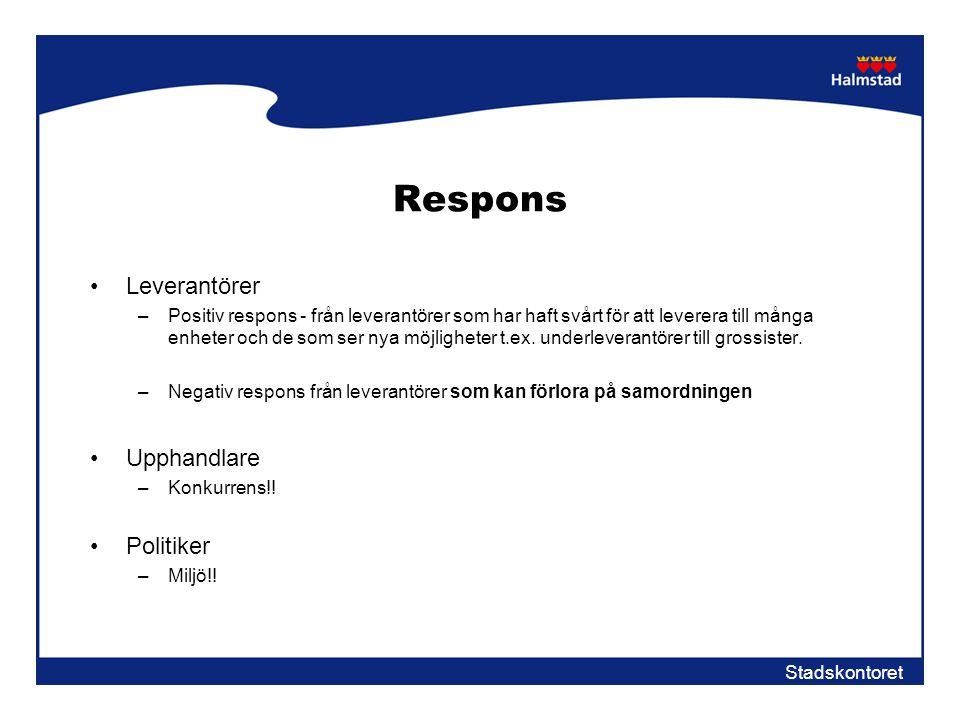 Stadskontoret Respons •Leverantörer –Positiv respons - från leverantörer som har haft svårt för att leverera till många enheter och de som ser nya möj