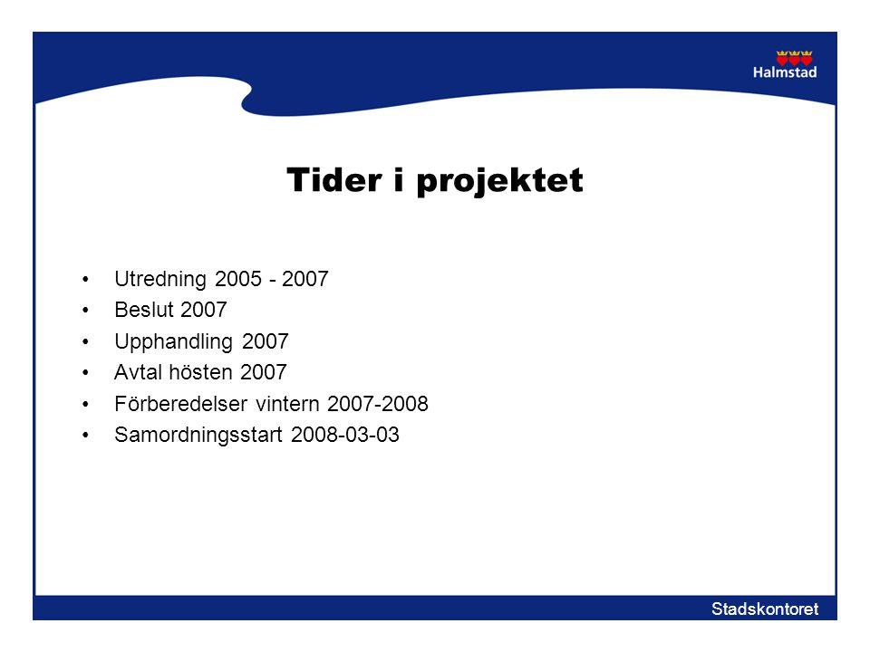 Stadskontoret Tider i projektet •Utredning 2005 - 2007 •Beslut 2007 •Upphandling 2007 •Avtal hösten 2007 •Förberedelser vintern 2007-2008 •Samordnings