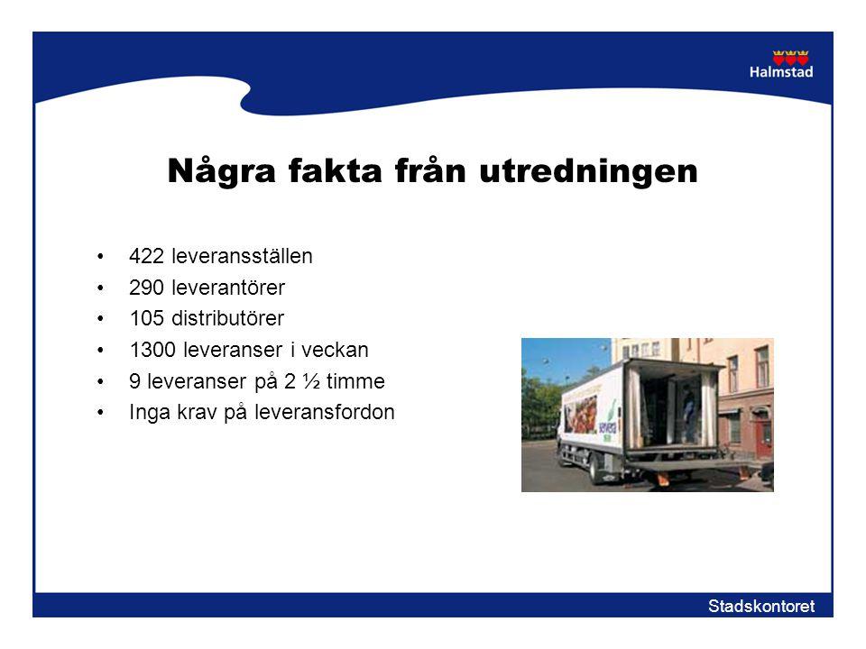 Stadskontoret Några fakta från utredningen •422 leveransställen •290 leverantörer •105 distributörer •1300 leveranser i veckan •9 leveranser på 2 ½ ti