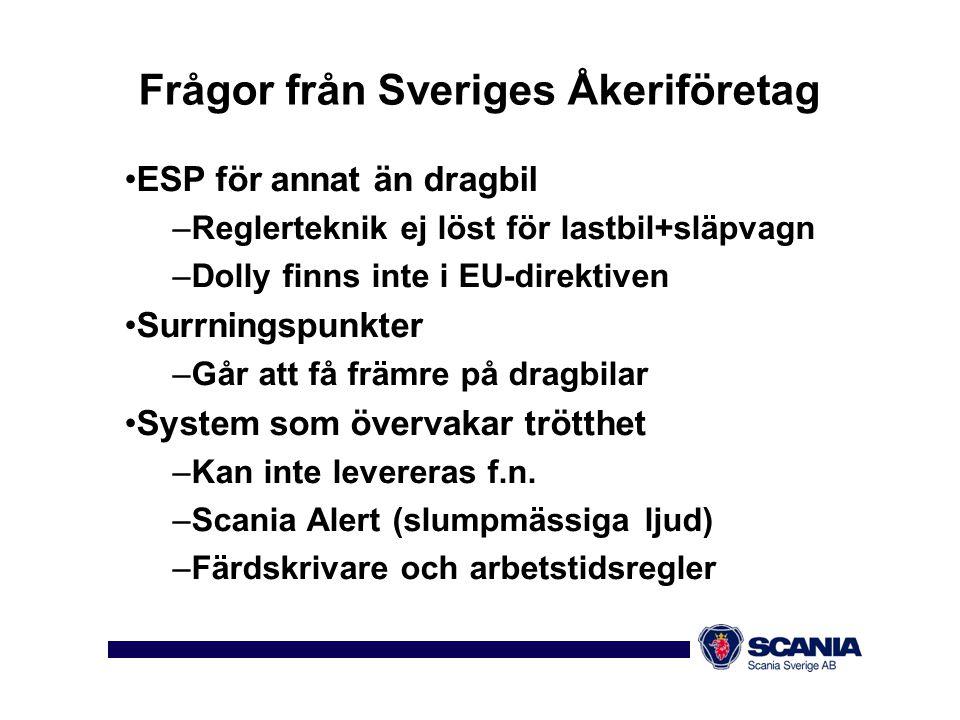 Frågor från Sveriges Åkeriföretag •ESP för annat än dragbil –Reglerteknik ej löst för lastbil+släpvagn –Dolly finns inte i EU-direktiven •Surrningspun