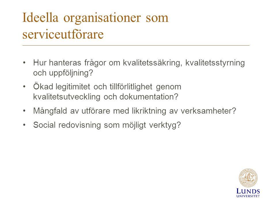 Ideella organisationer som serviceutförare •Hur hanteras frågor om kvalitetssäkring, kvalitetsstyrning och uppföljning? •Ökad legitimitet och tillförl
