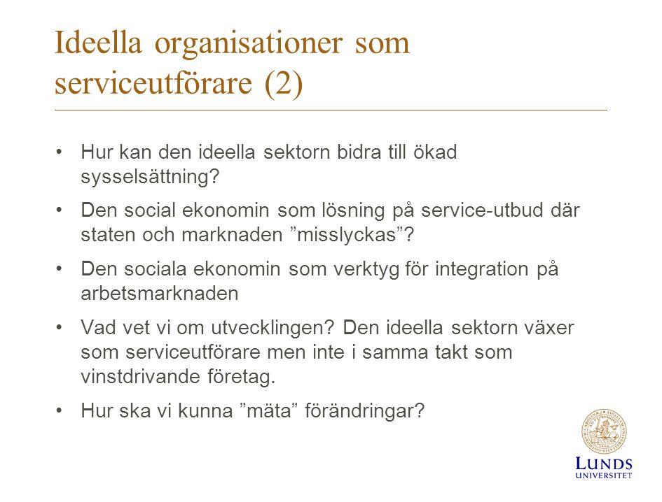 Ideella organisationer som serviceutförare (2) •Hur kan den ideella sektorn bidra till ökad sysselsättning? •Den social ekonomin som lösning på servic