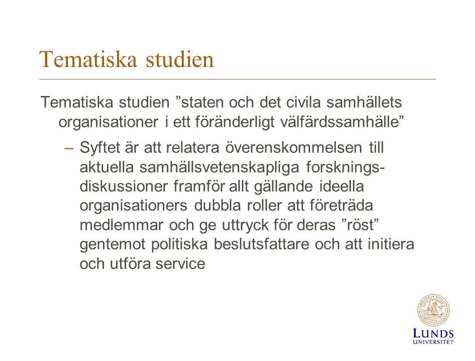 """Tematiska studien Tematiska studien """"staten och det civila samhällets organisationer i ett föränderligt välfärdssamhälle"""" –Syftet är att relatera över"""