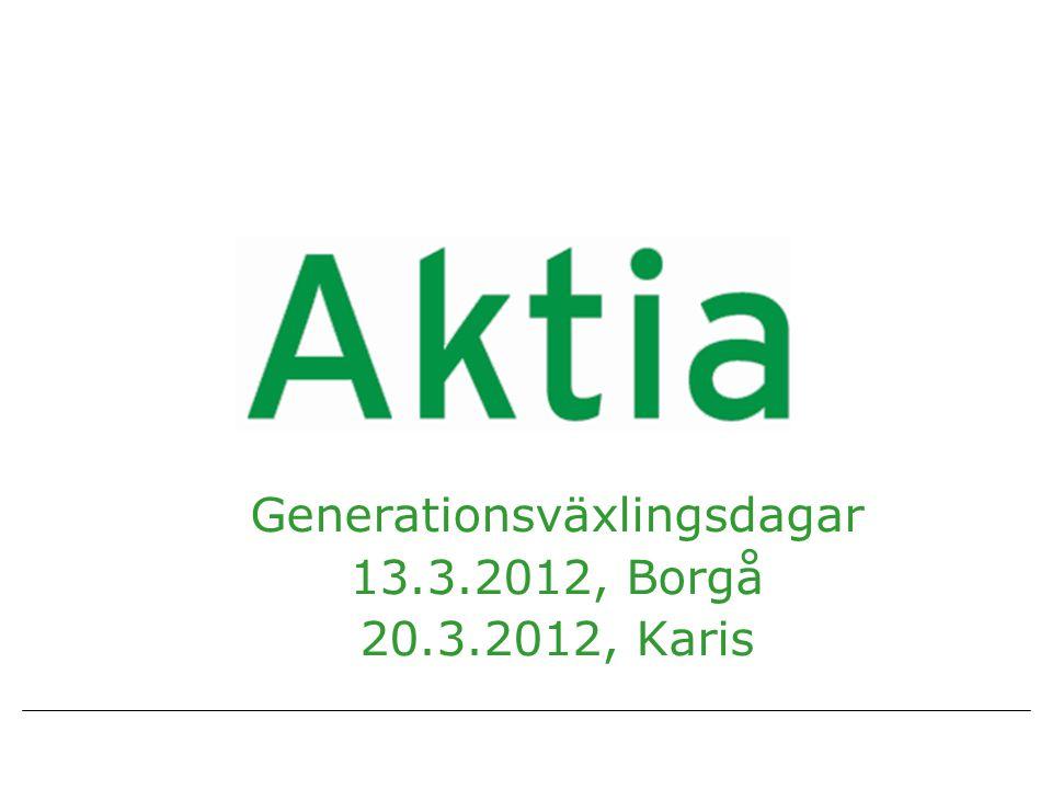 Generationsväxlingsdagar 13.3.2012, Borgå 20.3.2012, Karis