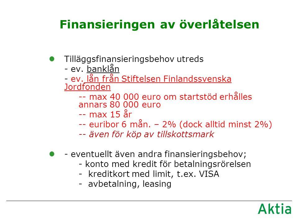 Finansieringen av överlåtelsen lTilläggsfinansieringsbehov utreds - ev.