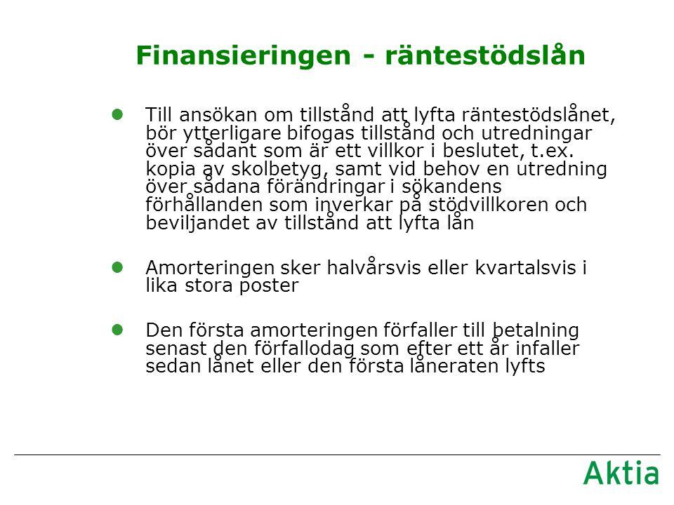 Finansieringen - räntestödslån lTill ansökan om tillstånd att lyfta räntestödslånet, bör ytterligare bifogas tillstånd och utredningar över sådant som är ett villkor i beslutet, t.ex.