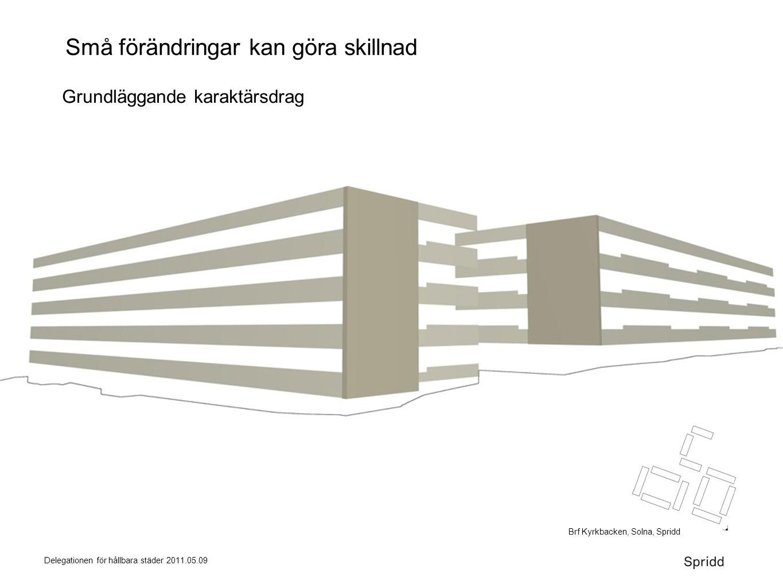 Delegationen för hållbara städer 2011.05.09 Små förändringar kan göra skillnad Grundläggande karaktärsdrag Brf Kyrkbacken, Solna, Spridd