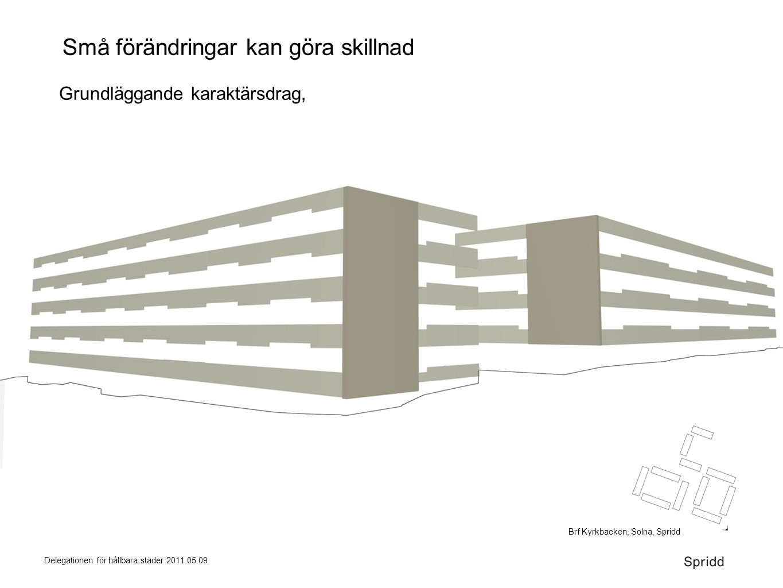 Delegationen för hållbara städer 2011.05.09 Små förändringar kan göra skillnad Grundläggande karaktärsdrag, Brf Kyrkbacken, Solna, Spridd