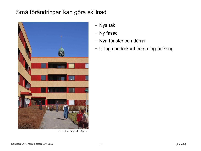 17 Delegationen för hållbara städer 2011.05.09 Små förändringar kan göra skillnad Brf Kyrkbacken, Solna, Spridd  Nya tak  Ny fasad  Nya fönster och