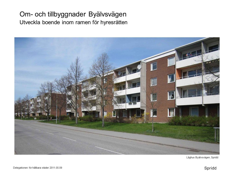 Delegationen för hållbara städer 2011.05.09 Om- och tillbyggnader Byälvsvägen Utveckla boende inom ramen för hyresrätten Låghus Byälvsvägen, Spridd
