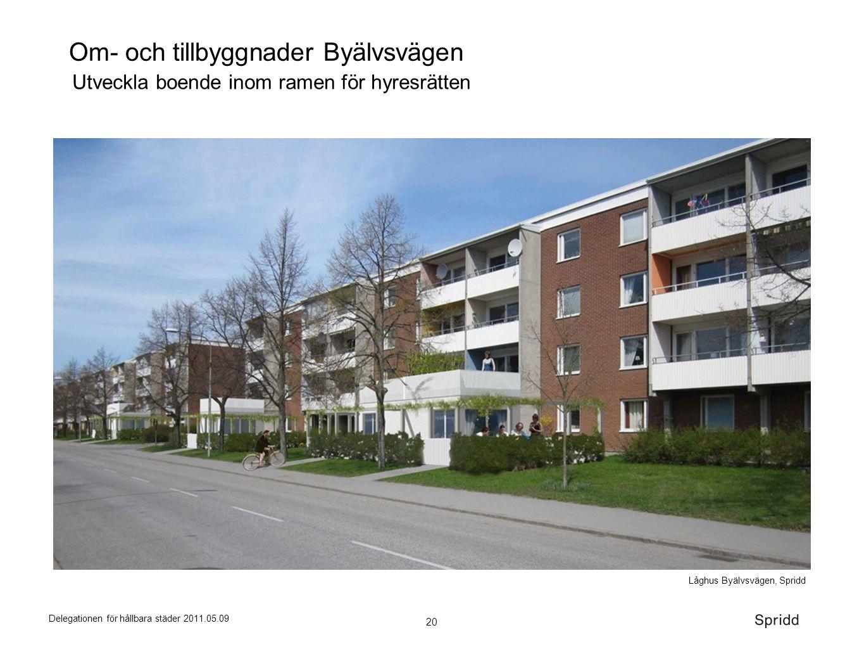 20 Delegationen för hållbara städer 2011.05.09 Om- och tillbyggnader Byälvsvägen Låghus Byälvsvägen, Spridd Utveckla boende inom ramen för hyresrätten