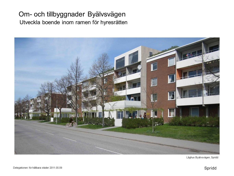 Delegationen för hållbara städer 2011.05.09 Om- och tillbyggnader Byälvsvägen Låghus Byälvsvägen, Spridd Utveckla boende inom ramen för hyresrätten