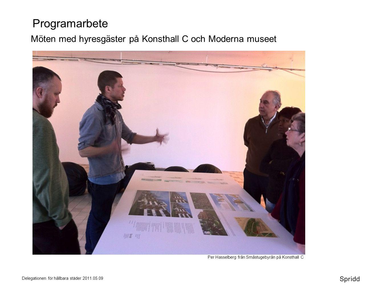 Delegationen för hållbara städer 2011.05.09 Programarbete Möten med hyresgäster på Konsthall C och Moderna museet Per Hasselberg från Småstugebyrån på