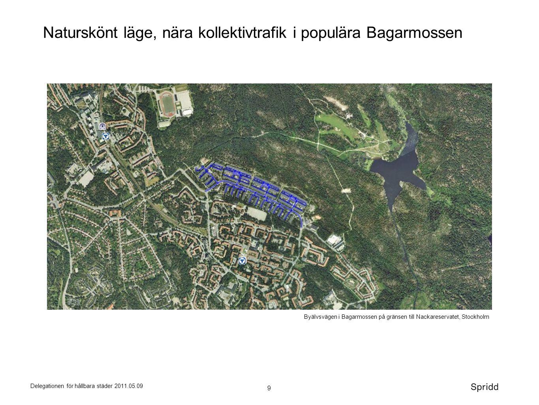 9 Delegationen för hållbara städer 2011.05.09 Byälvsvägen i Bagarmossen på gränsen till Nackareservatet, Stockholm Naturskönt läge, nära kollektivtraf