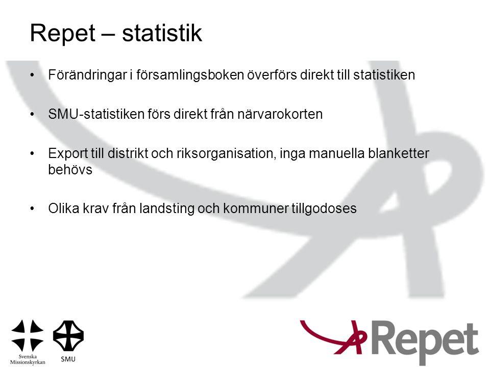 Repet – statistik •Förändringar i församlingsboken överförs direkt till statistiken •SMU-statistiken förs direkt från närvarokorten •Export till distr