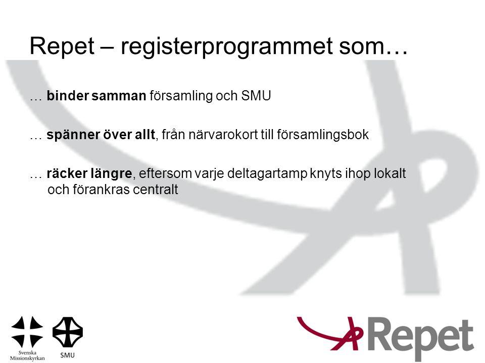 Repet – registerprogrammet som… … binder samman församling och SMU … spänner över allt, från närvarokort till församlingsbok … räcker längre, eftersom