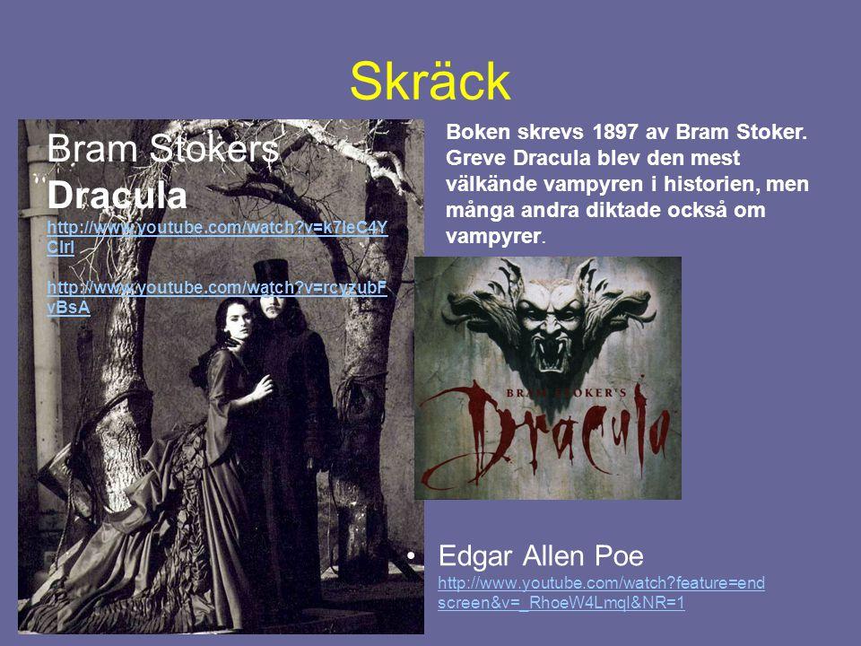 Typiska drag från Romantiken i aktuell populärkultur - skräck •Tre youtube-klipp: Twilight zone http://www.youtube.com/watch?v=Ocz50YJOFTM http://www.youtube.com/watch?v=Ocz50YJOFTM •True Blood http://www.youtube.com/watch?v=hE8wwYzKJOs http://www.youtube.com/watch?v=hE8wwYzKJOs •Låt den rätte komma in http://www.youtube.com/watch?v=qG2w9O6zd2g http://www.youtube.com/watch?v=qG2w9O6zd2g •Anteckna släktskapen med Romantiken