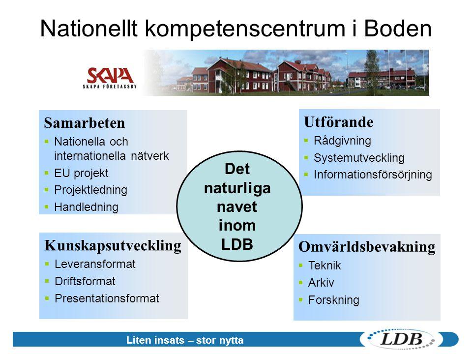 Nationellt kompetenscentrum i Boden Kunskapsutveckling  Leveransformat  Driftsformat  Presentationsformat Samarbeten  Nationella och internationel