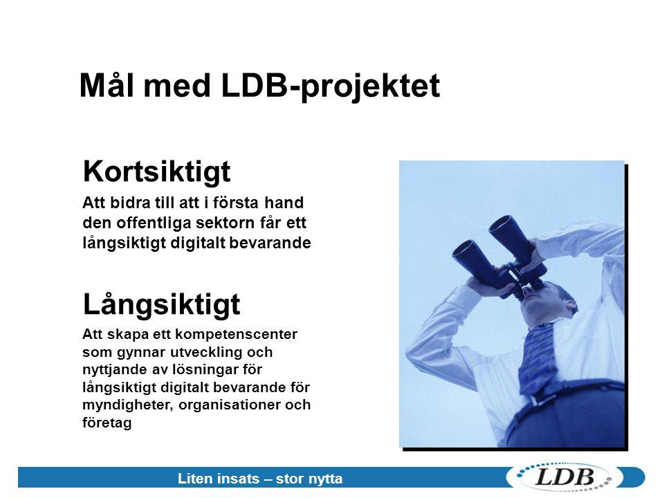 Liten insats – stor nytta Mål med LDB-projektet Kortsiktigt Att bidra till att i första hand den offentliga sektorn får ett långsiktigt digitalt bevar