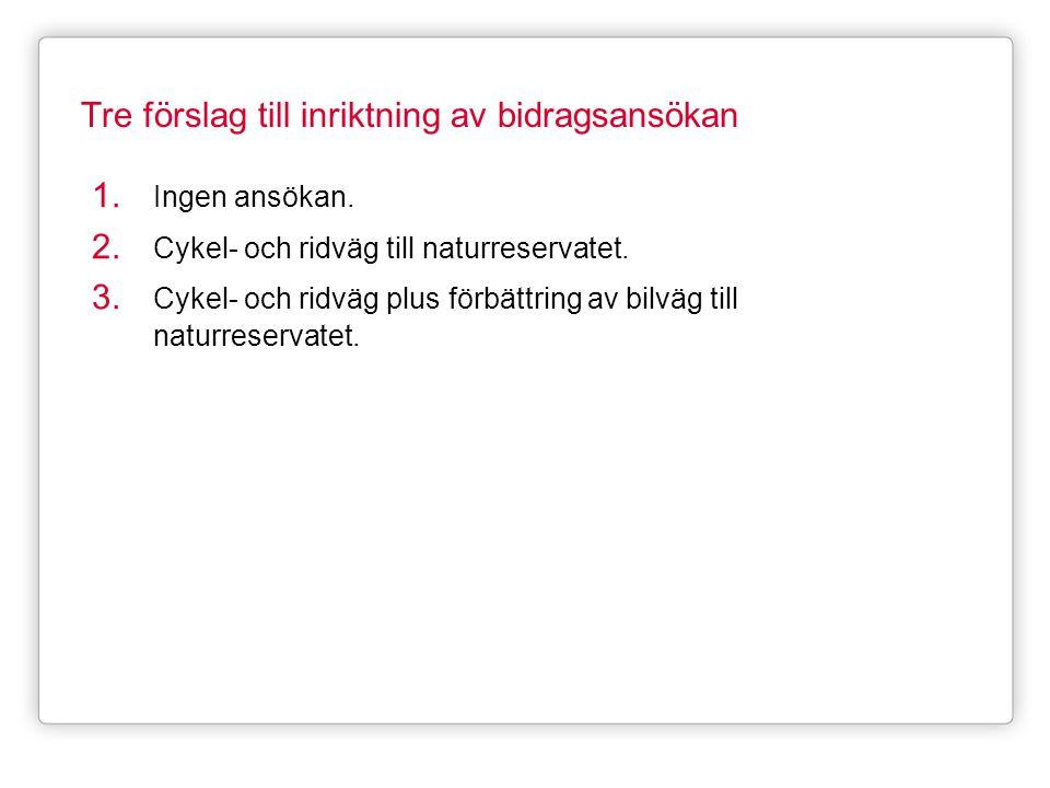 Tre förslag till inriktning av bidragsansökan 1. Ingen ansökan. 2. Cykel- och ridväg till naturreservatet. 3. Cykel- och ridväg plus förbättring av bi