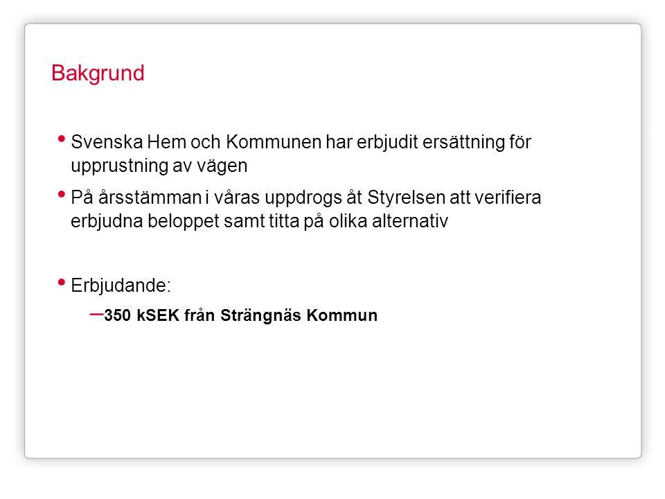 Bakgrund • Svenska Hem och Kommunen har erbjudit ersättning för upprustning av vägen • På årsstämman i våras uppdrogs åt Styrelsen att verifiera erbju