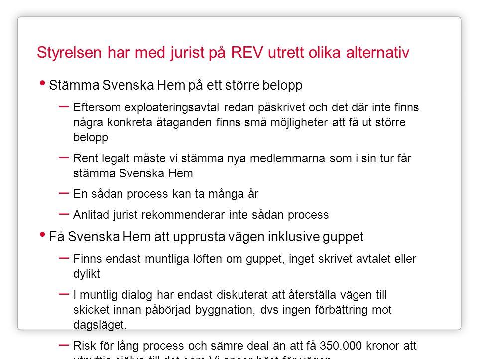 Styrelsen har med jurist på REV utrett olika alternativ • Stämma Svenska Hem på ett större belopp – Eftersom exploateringsavtal redan påskrivet och de