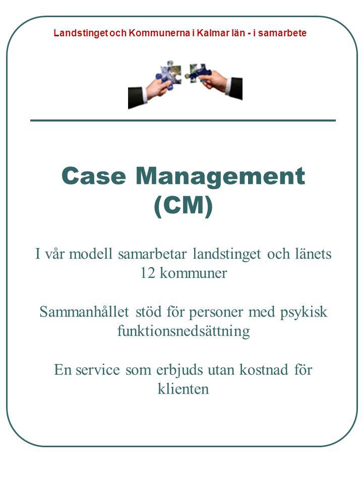 Case Management (CM) I vår modell samarbetar landstinget och länets 12 kommuner Sammanhållet stöd för personer med psykisk funktionsnedsättning En ser
