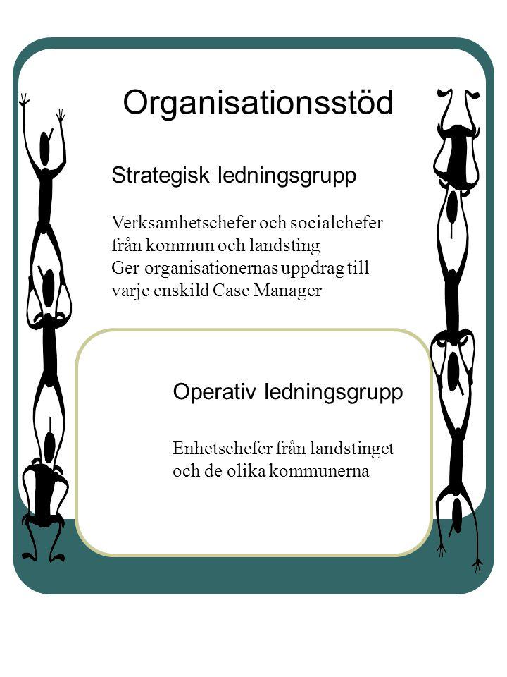 Operativ ledningsgrupp Enhetschefer från landstinget och de olika kommunerna Organisationsstöd Strategisk ledningsgrupp Verksamhetschefer och socialch