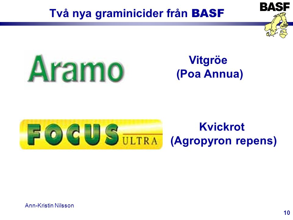 Ann-Kristin Nilsson 10 Två nya graminicider från BASF Vitgröe (Poa Annua) Kvickrot (Agropyron repens)